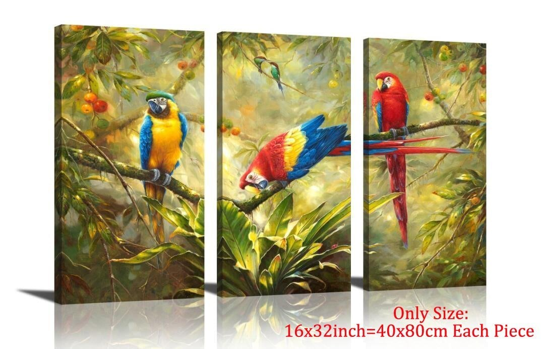 HLJ ART Original Artwork 3 Panel Abstract Macaw Parrot in Tropical Rain Forest