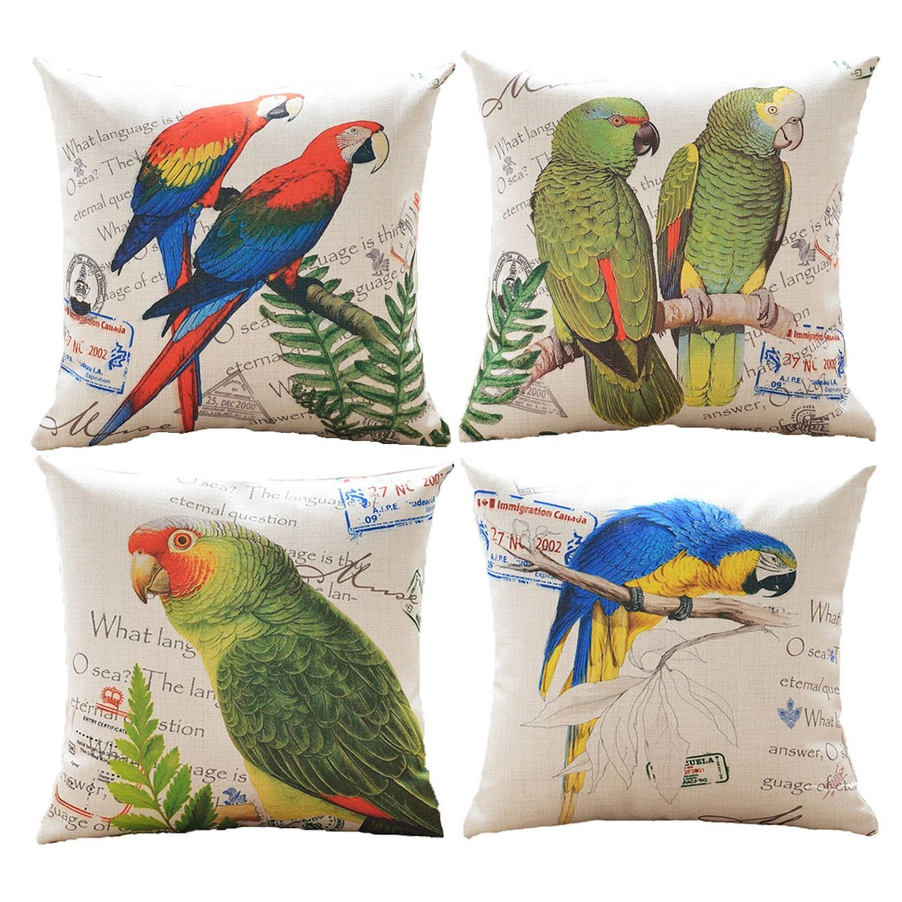 sykting Couch Pillow Cases Decorative Cushion Covers Set of 4 Pillow Shams for Sofa:Bench 18x18 Birds & Flowers Series Cotton Linen