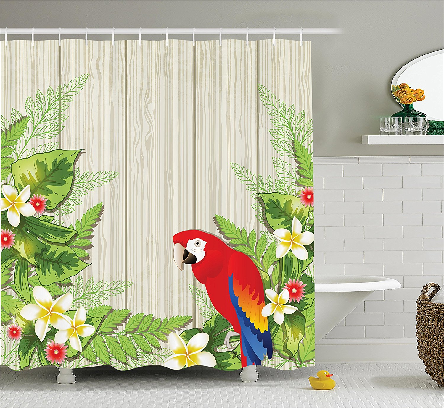 Ambesonne Parrots Decor Shower Curtain Set, Tropic Flowers And African Parrot In Summer Garden Wooden Wall Ferns Decorative Art, Bathroom Accessories, 69W X 70L Inches, Cream Green Red