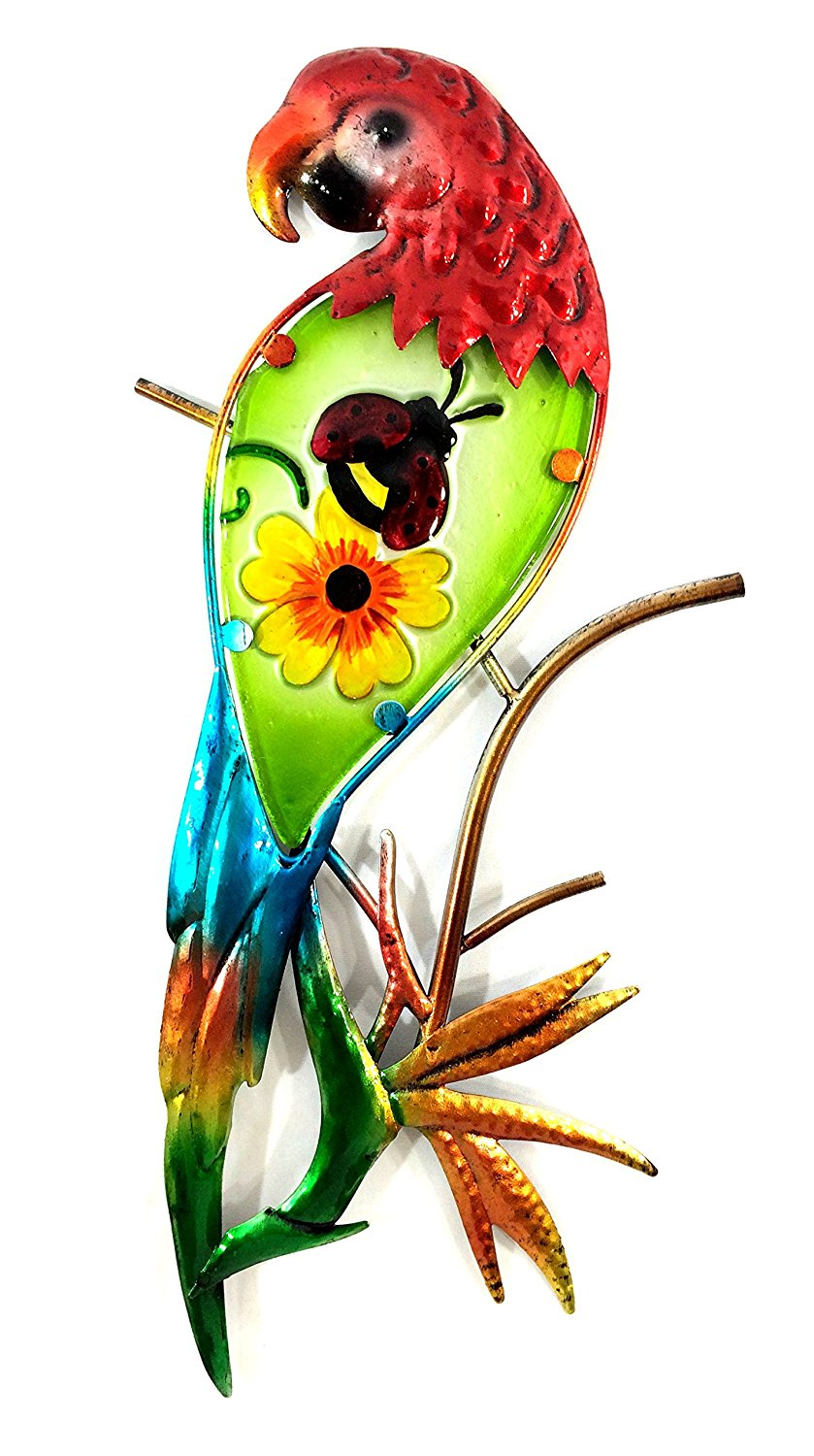 Bejeweled Display Parrot w: Glass Wall Art Plaque & Home Décor