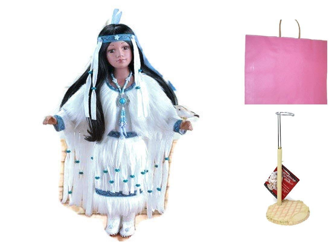 4. Cholene Native American Porcelain Doll With Doll Stand and Gift Bag (bundle)