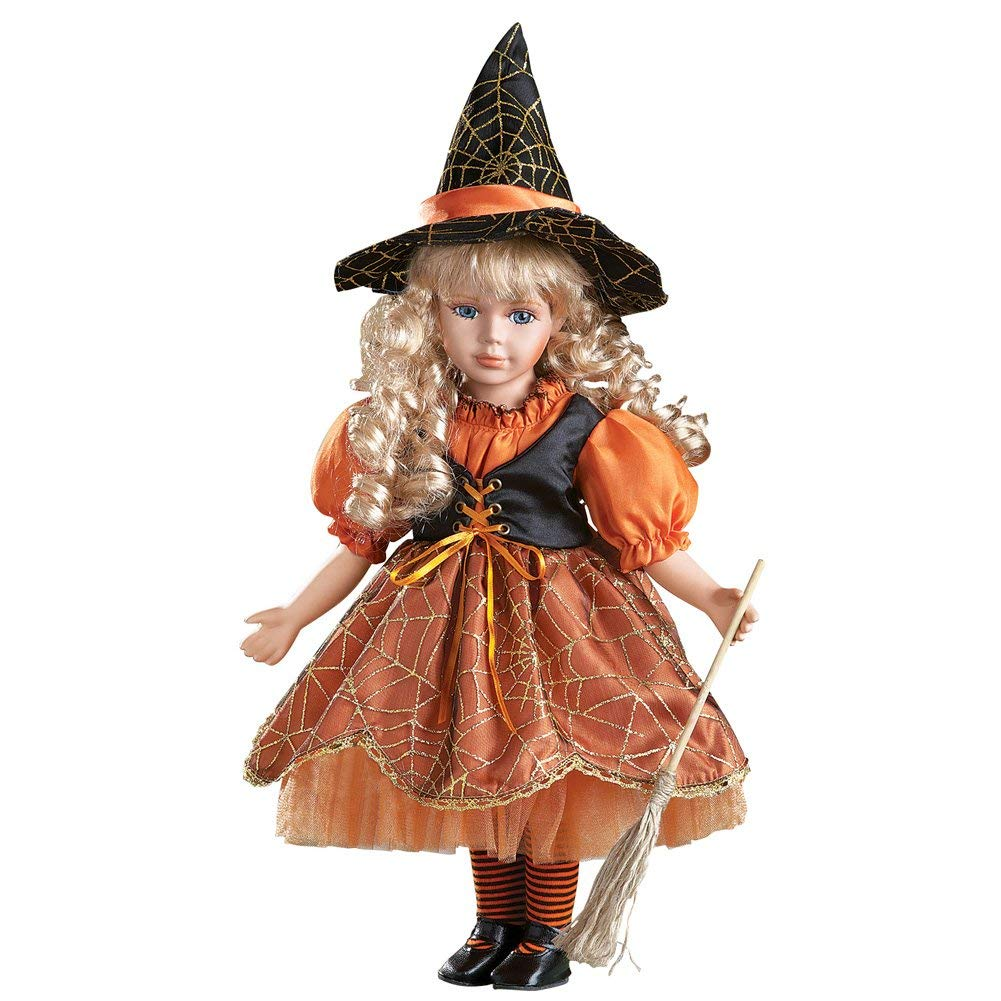 9. Women's Halloween Wendy Witch Costume Collectible Porcelain Doll 16-min