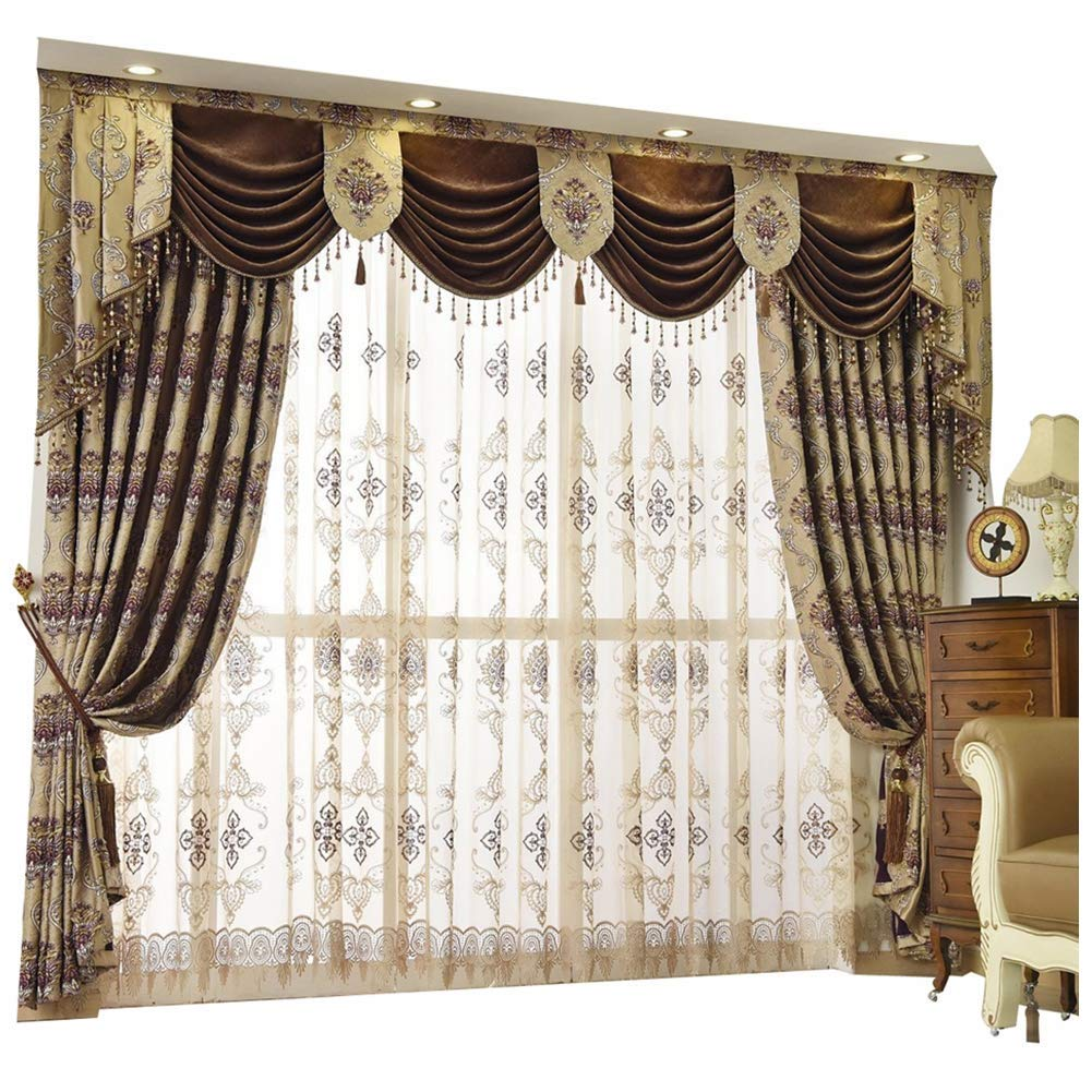 2. Queen's House Luxury Baroque Pattern Window Curtains Drapes