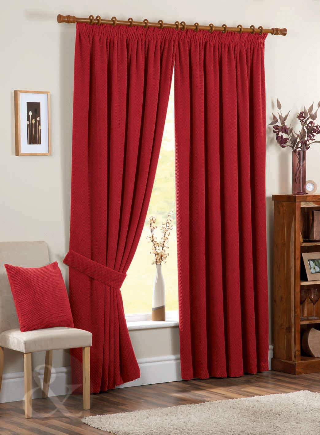 3. CHENILLE CURTAINS - Plain Pencil Pleat Fully Lined Taped Curtain Pair Red Curtain