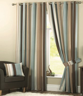 5. Whitworth Duck Egg Blue Stripe Lined Readymade Eyelet Curtains