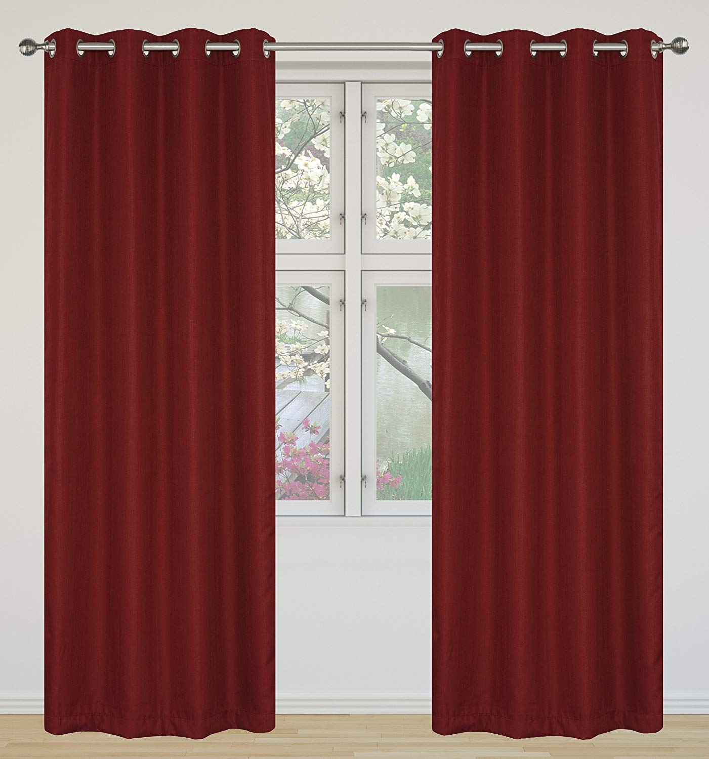 9. LJ Home Fashions Eclipse Room Darkening 100% Privacy Linen Look Grommet Curtain Panels